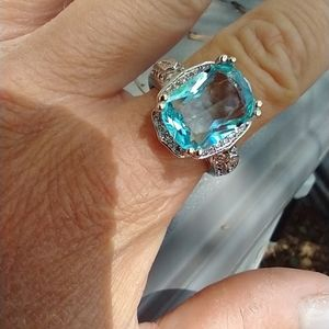 Women's marked 925 blue stone ring size 10